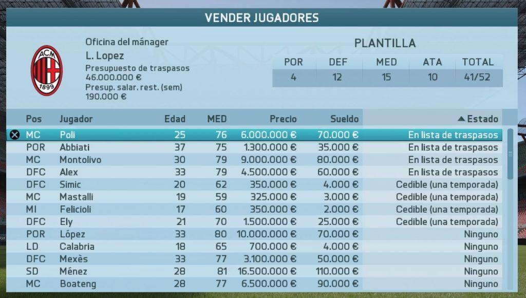 FIFA 16 Carrera (en los menús)