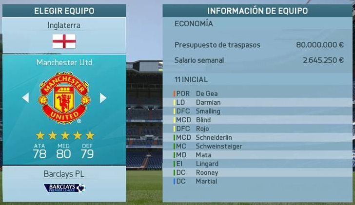 Manchester United modo Carrera FIFA 16