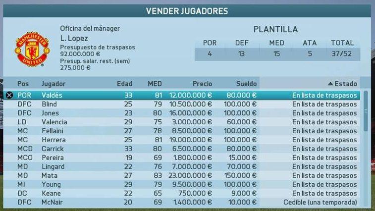 Jugadores para vender modo Carrera Manchester United FIFA 16