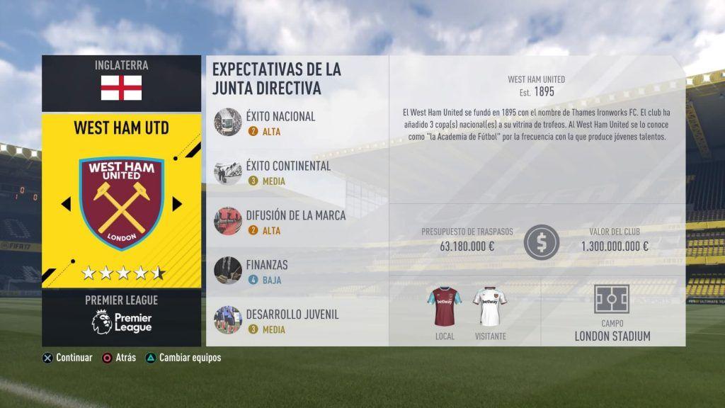 Modo Carrera FIFA 17 Presupuesto West Ham