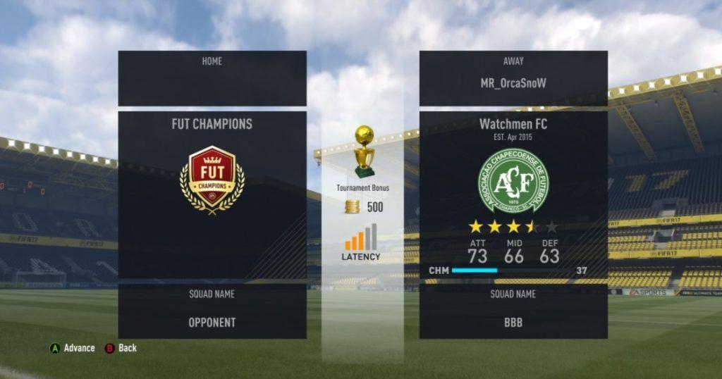 Cinco barras de latencia FUT Champions FIFA 17