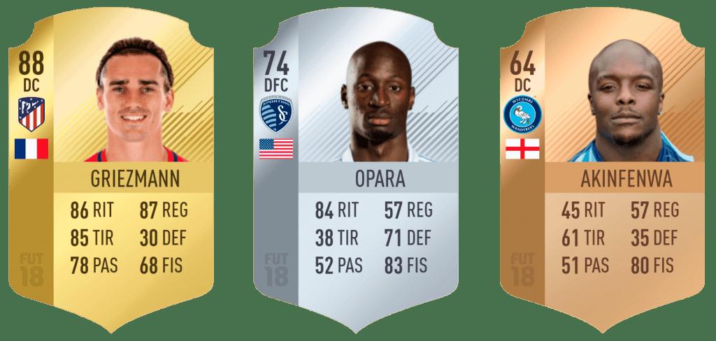 Categorías cartas FIFA 18 Ultimate Team