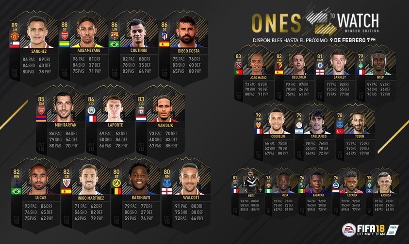 Ones to Watch de invierno de FIFA 18 Ultimate Team