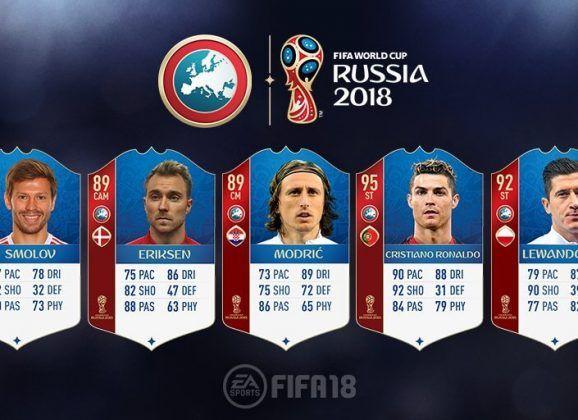 FIFA 18 World Cup. Cartas de los jugadores de la UEFA