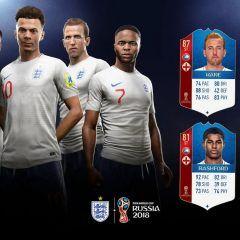 FIFA 18 World Cup. Cartas de los jugadores de Inglaterra