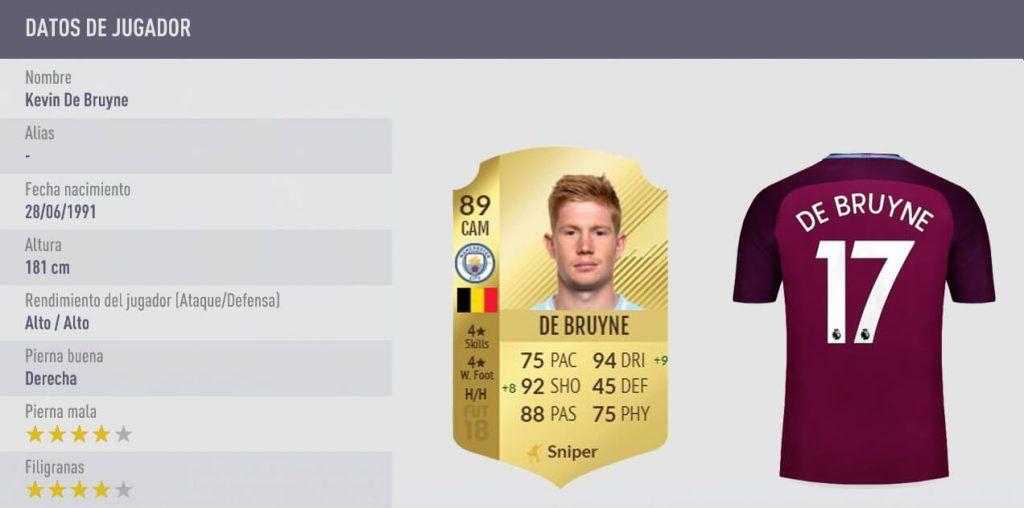 Estadísticas De Bruyne FIFA 18 Ultimate Team