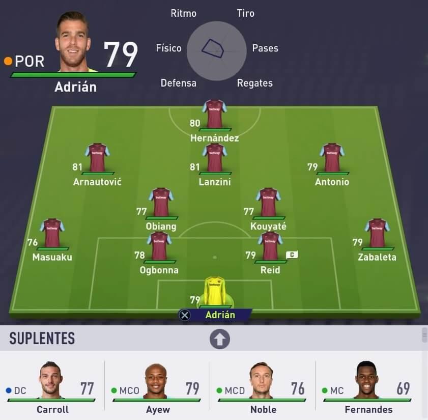 Alineación del West Ham en el modo Carrera de FIFA 18