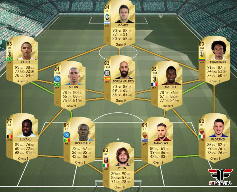 Plantilla barata del Calcio A para FIFA 18 Ultimate Team