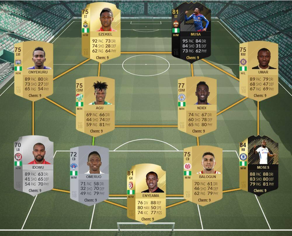 Selección de Nigeria en FIFA 18 Ultimate Team