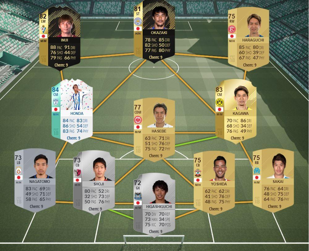 Selección de Japón en FIFA 18 Ultimate Team