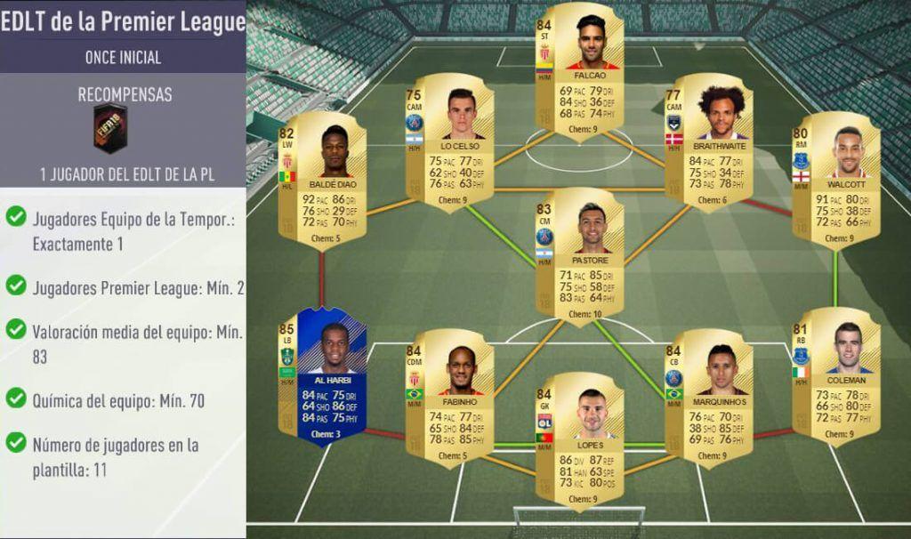 Plantilla para el SBC EDLT de la Premier League de FIFA 18 Ultimate Team