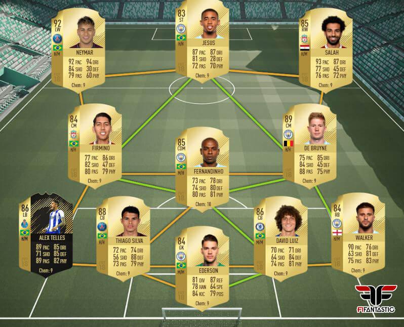 Híbrido con Neymar y Salah para FIFA 18 Ultimate Team