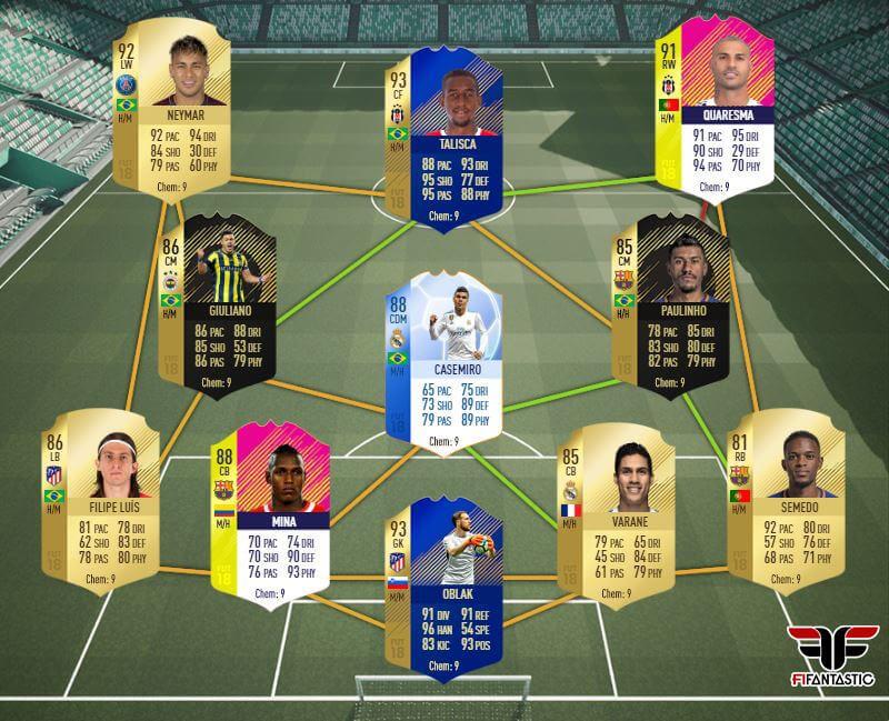 Equipo con Neymar y Quaresma para FIFA 18 Ultimate Team