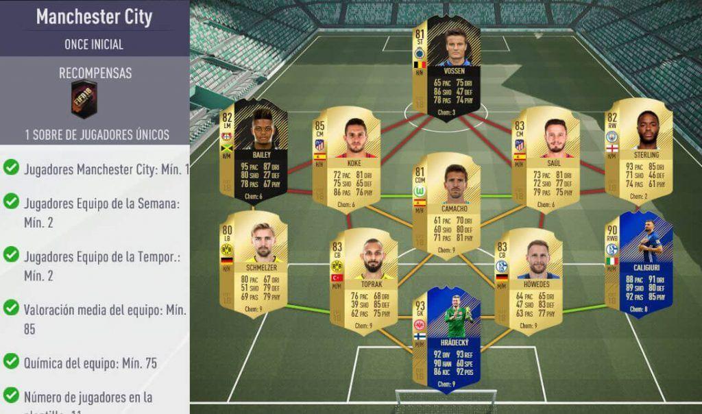 Plantilla para el SBC del Manchester City de Agüero POTM de FIFA 18 Ultimate Team