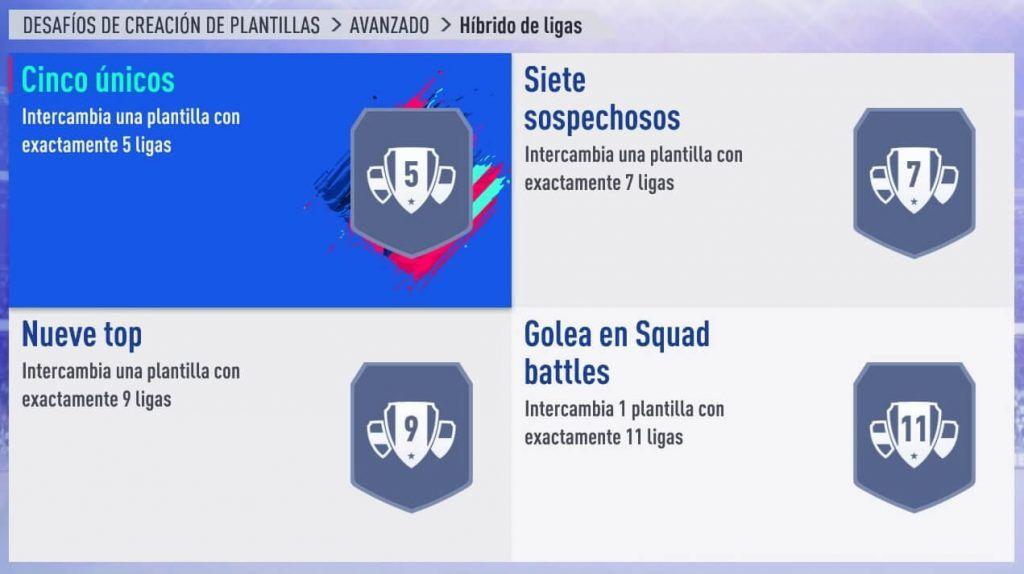 Squad Builder Challenge Híbrido de Ligas FIFA 19 Ultimate Team