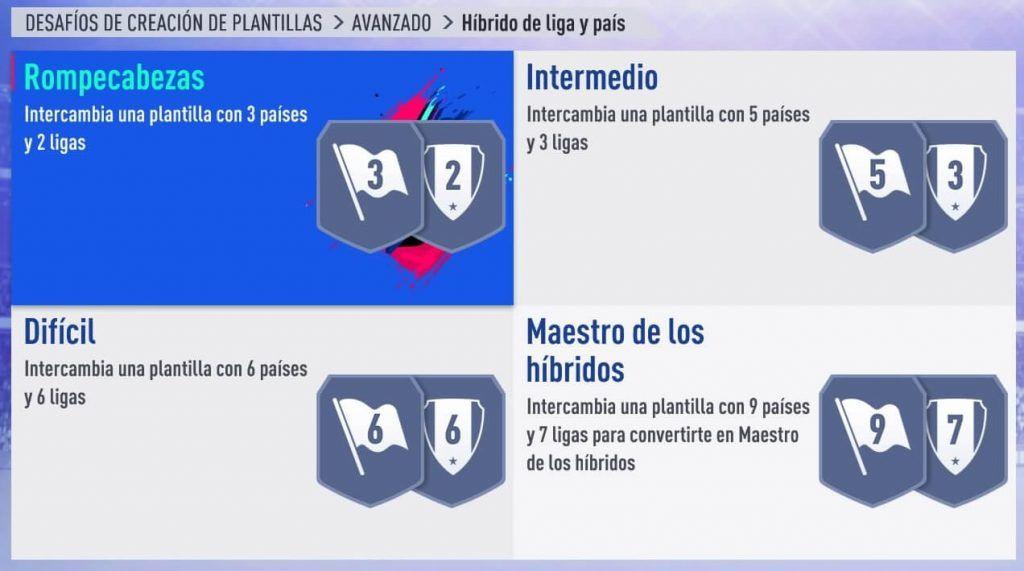 Squad Builder Challenge Híbrido de liga y país FIFA 19 Ultimate Team
