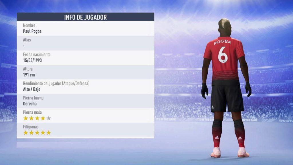Estadísticas Pogba FIFA 19 Ultimate Team, dorsal Pogba Manchester United