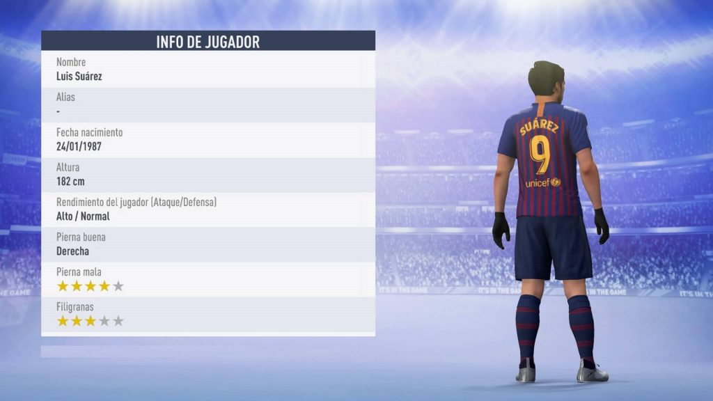 Estadísticas Luis Suárez FIFA 19 Ultimate Team