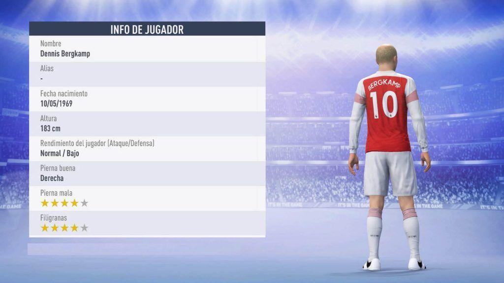 Estadísticas Dennis Bergkamp 87 FIFA 19 Ultimate Team
