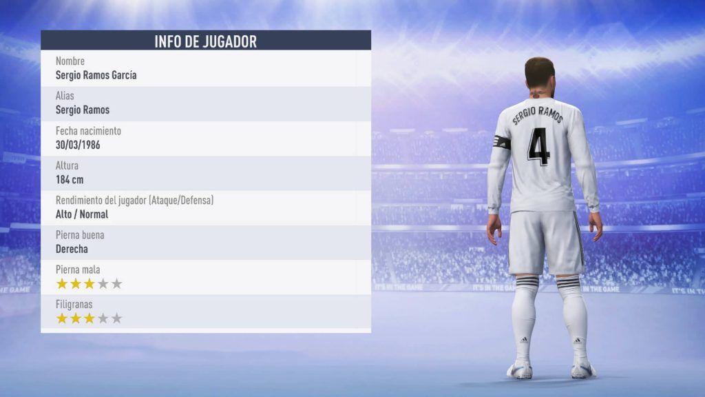 Estadísticas de Sergio Ramos para FIFA 19 Ultimate Team