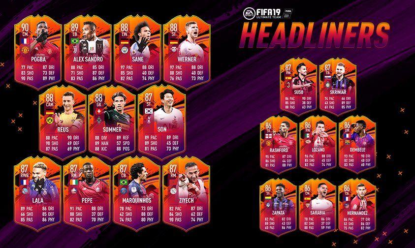 Cartas Headliners de FIFA 19 Ultimate Team