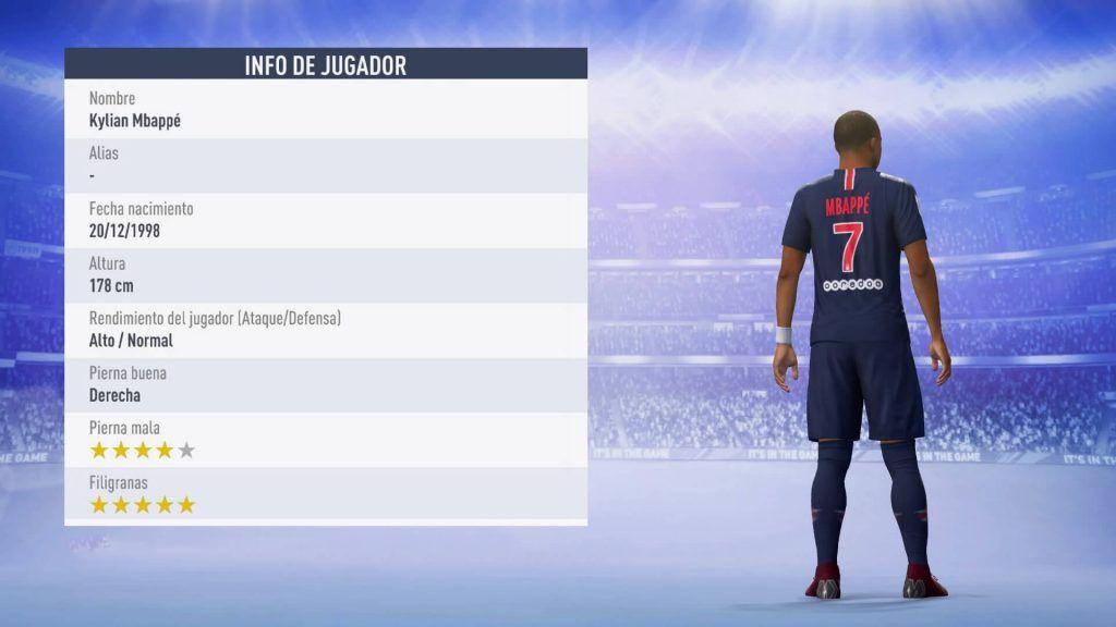 Estadísticas de Mbappé TOTY FIFA 19 Ultimate Team