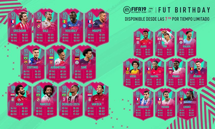 Equipo FUT Birthday de FIFA 19