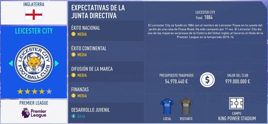 Equipos para el Modo Carrera de FIFA 19 Leicester City