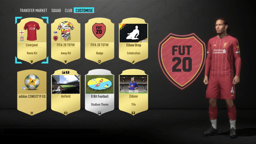 Opciones de personalización FIFA 20 Ultimate Team