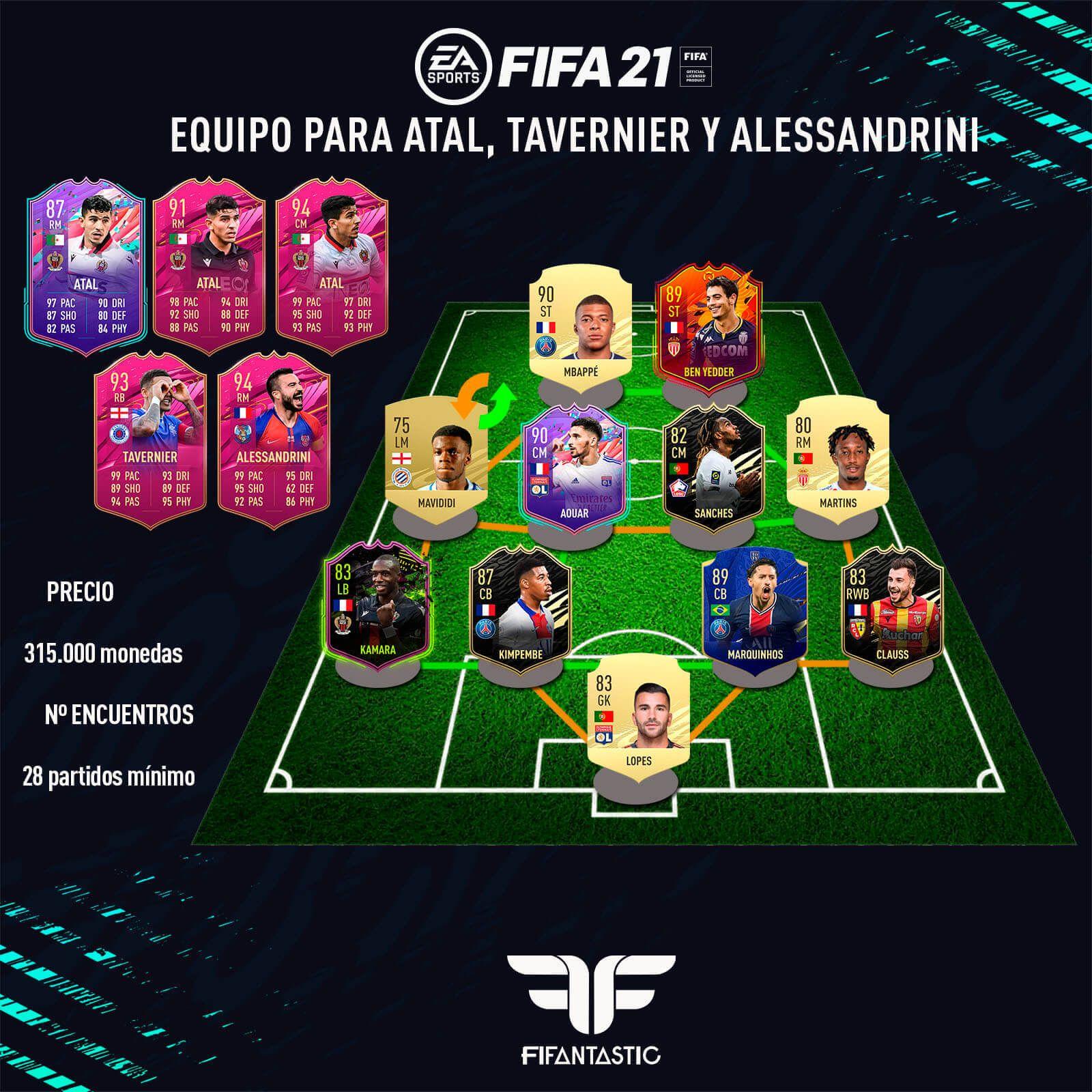 Equipo para conseguir a Atal FUTTIE en FIFA 21 Ultimate Team