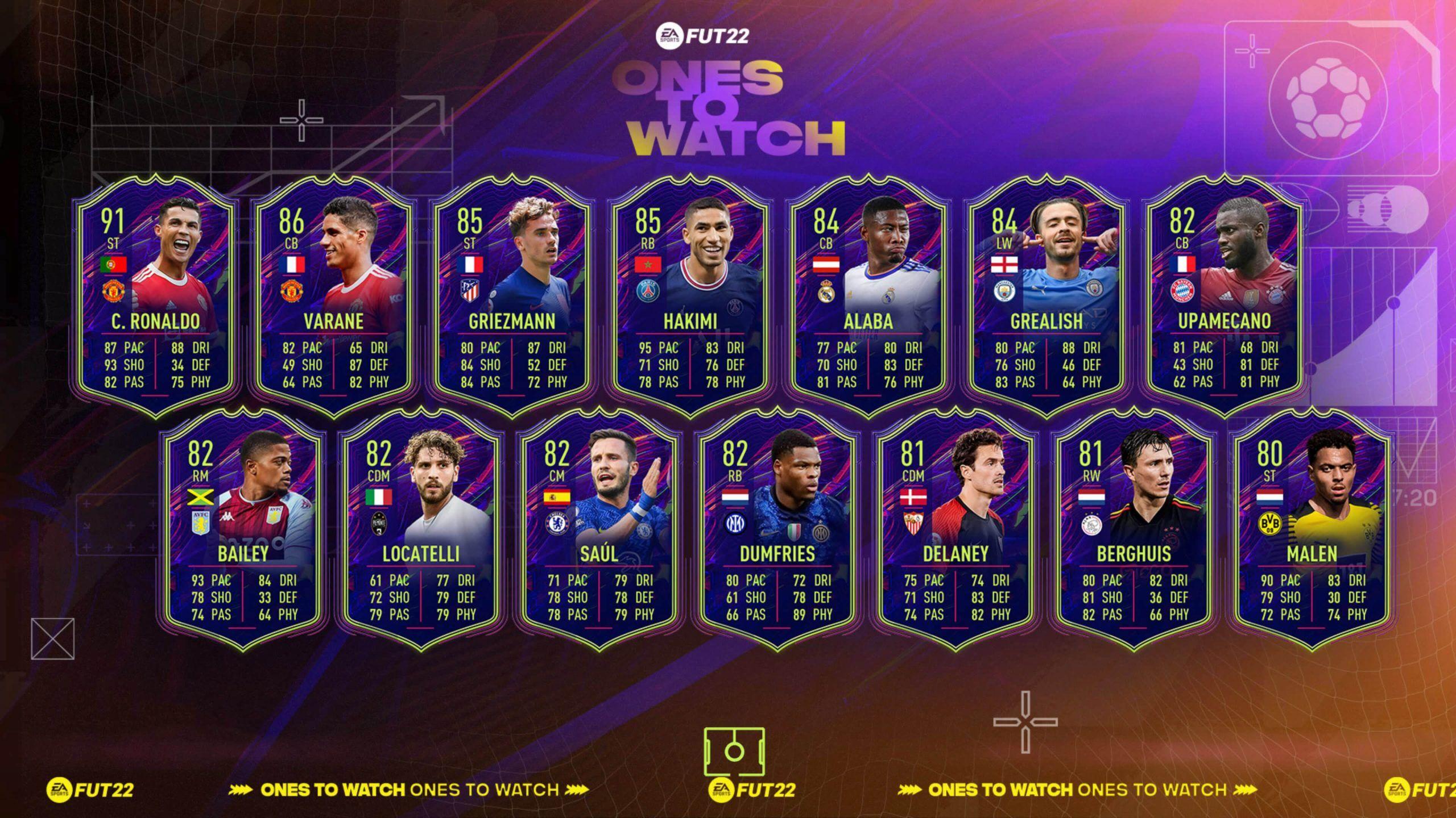 Equipo 1 de los Ones to Watch de FIFA 22 Ultimate Team